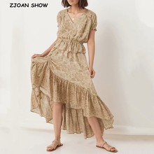 Long-Skirt Pleated Elastic Floral-Print Stream Khaki Women Beach Bohemian Shirring Swing