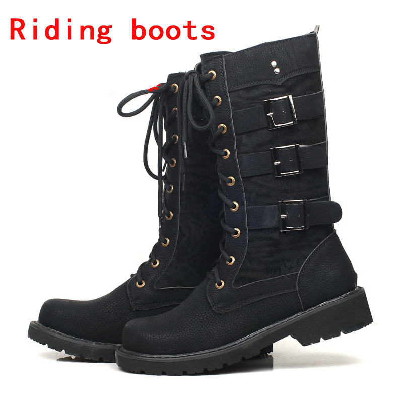 Punk Boots Motorcycle Boots Moto Boots Men Artificial Leather Motocross Boots Black Motorbike Riding Shoes Accessories