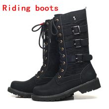 цена на Punk Boots Motorcycle Boots Moto Boots Men Artificial Leather Motocross Boots Black Motorbike Riding Shoes Accessories