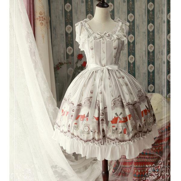 O músico na cidade de bremen dress doce impresso lolita jsk vestido por magic tea party pre pré-pedido