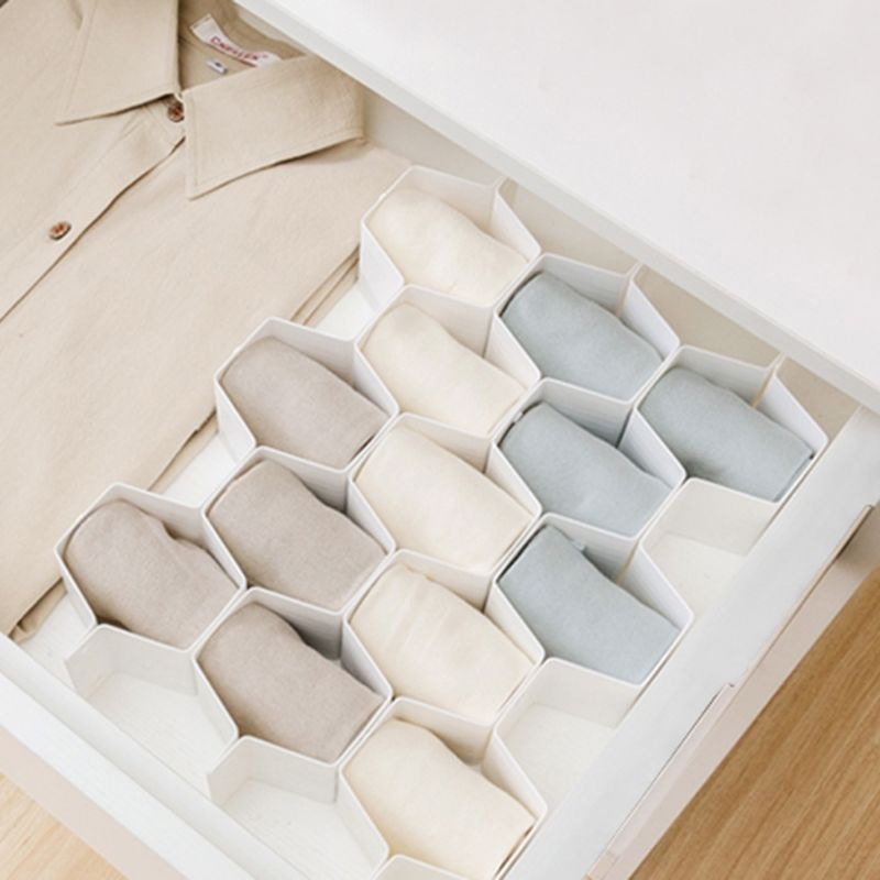 Practical Honeycomb-shaped Drawer Storage Box 8 Plastic Closet Partitions For Small Clothes And Cosmetics Partitions