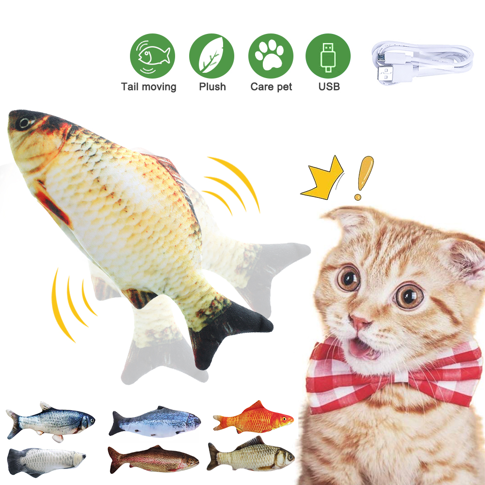 30/34CM Electronic Cat Fish Toy USB Battery Charging Cat Playing Toy Pet Cat Simulation Fish Toy Biting Supplies Dropshiping