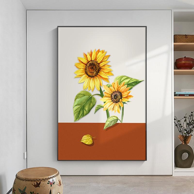 Современный минималистский Гостиная холст картины Nordic подсолнечника холсте плакат «коридор» маленький с принтом в виде листков растения Украшение картина