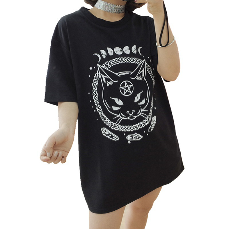 Gothic Women's T-shirts 2019 Summer Gothic Style Tops Harajuku Moon Phase Witchcraft Cat Print Plus Size Gothic Clothing Women