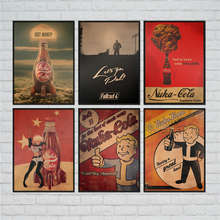 Fallout 3 4 Game Poster Classic Drawing Wall Art Sticker Retro Kraft Paper Antique Painting Cafe Bar Pub Home Decor 42x30cm(China)