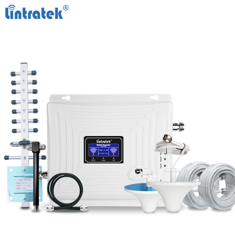 Lintratek Signal Repeater 3G 4G Booster 1800 2100Mhz  3G Amplifier 4G LTE 1800 Signal Booster  Mobile Signal Amplifier KW20C-DW