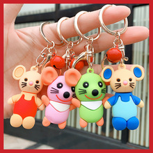 Creative cute cartoon Epoxy mouse keychain Korean version ins personality trend couple key chain bag pendant cute cartoon style couple lovers keychain silver pair