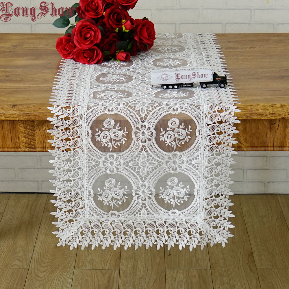 Home Decorative Creative Modern Style Bedding Cabinet TV Ark Cover White Embroidered Transparent Organza Voile Table Runner Table Runners     - title=