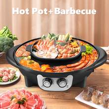 2 In 1 Portable Electric Grill Upgraded 2200W Non-Stick Electric Hot BBQ Pot Frying Cook Grill Intelligent Temperature Control