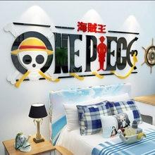 Bricolage acrylique cristal autocollant mural une pièce singe D Luffy personnalisé créatif décor chambre dortoir salon Anime affiche