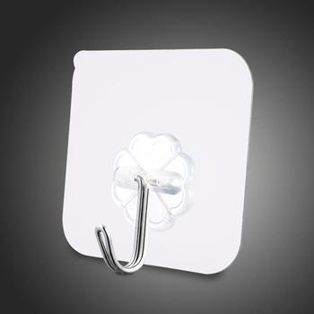 Strong Adhesive Door Wall Hangers Kitchen Bathroom Accessories Wall Hanging Hooks Transparent Suction Cup Sucker 1/2/5/10pcs image