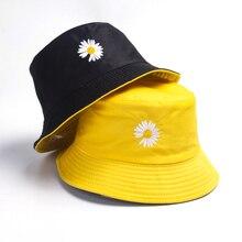Fishing-Hats Daisies Sunscreen Spring Double-Sided-Wear Women Bucket Little Lady Sun-Cap