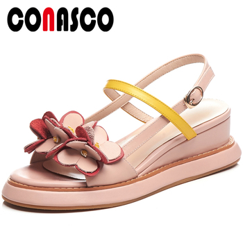 CONASCO Fashion Casual 2020 Summer New Arrival Women Sandals Pumps Genuine Leather Appliques Buckle Strap High Heels Shoes Woman