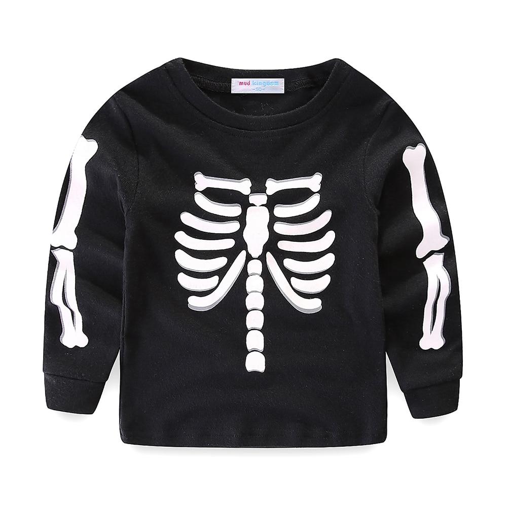 Mudkingdom Little Boys Girls Pajama Set Glowing Halloween Skeleton Fashion Kids Sleepwear Outfits 4