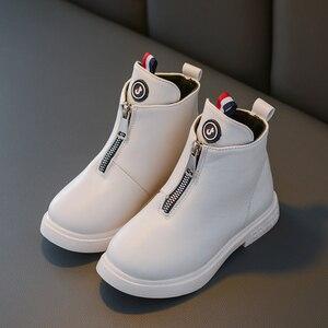 Image 4 - 2019 outono moda meninas botas de couro coreano tornozelo botas escola meninas grandes preto branco inverno botas para crianças tamanho 27 37