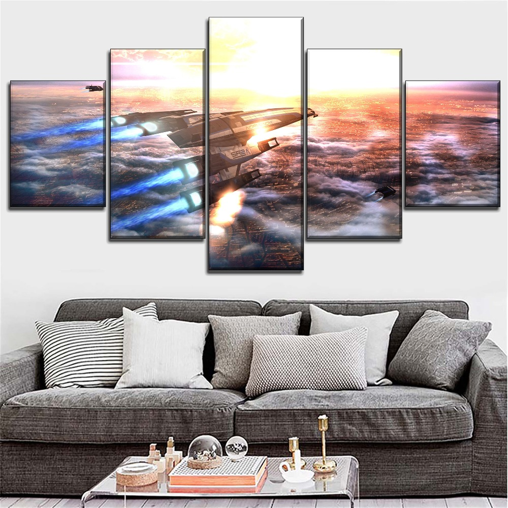 Top-Rated Wall Art Canvas Printed Paintings Modular Style 5 Pieces Mass Effect Game Normandy SR-2 Poster Home Decorative image