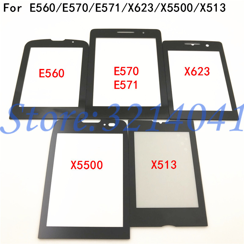 Original New Black Front Glass Screen For <font><b>Philips</b></font> <font><b>Xenium</b></font> <font><b>E560</b></font> E570 E571 X5500 X623 X513 Glass lens Panel Replacement With Logo image