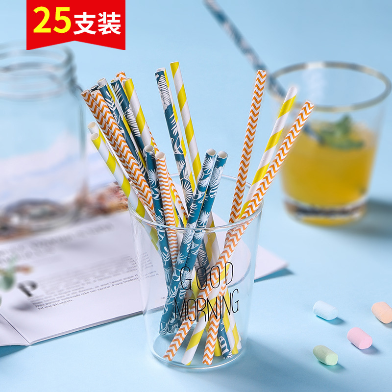 25 Pack Disposable Straws Environmentally Friendly Color Creative DIY Straw Dessert Table Fruit Juice Decoration Rough Paper Str