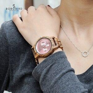 Image 1 - Bobo Vogel Relogio Feminino Dropshipping Dames Horloges Hout Metaal Chronograph Horloge Aanpassen Logo Christmas Gift Box