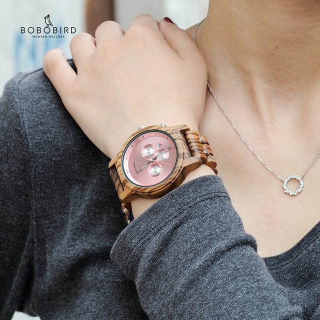 Bobo Vogel Relogio Feminino Dropshipping Dames Horloges Hout Metaal Chronograph Horloge Aanpassen Logo Christmas Gift Box