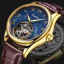100% мужские механические наручные часы с турбийоном скелетоны