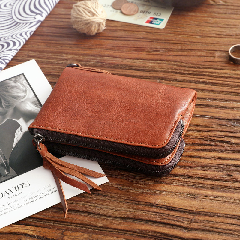 YIFANGZHE Retro Short leather Wallet , Genuine Leather Purse Wallet with Wax Finish for Men&Women, Quality Zipper Style
