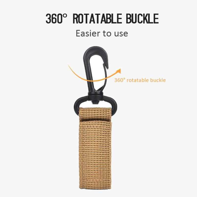 Ao ar livre cinta fivela de gancho de chave de náilon webbing cinto pendurado mosquetão clipe carro chaveiro gancho 360 graus rotação cinto tático