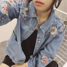 2017 New Flower Embroidery Classic Loose Length Jeans Jacket Women's Spring Straight Denim Jacket white classic collar embroidery pattern denim jacket