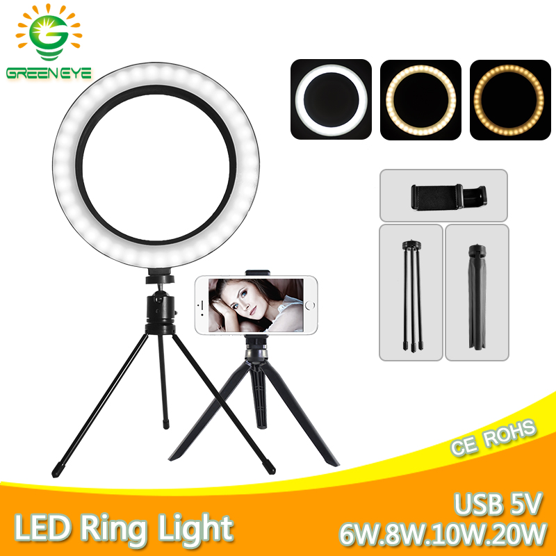 LED Selfie Ring Fill Light Photo 8.3 10 Inch 20W Dimmable Ring Lamp Camera Phone With Stand Tripod For Makeup Video Live Studio