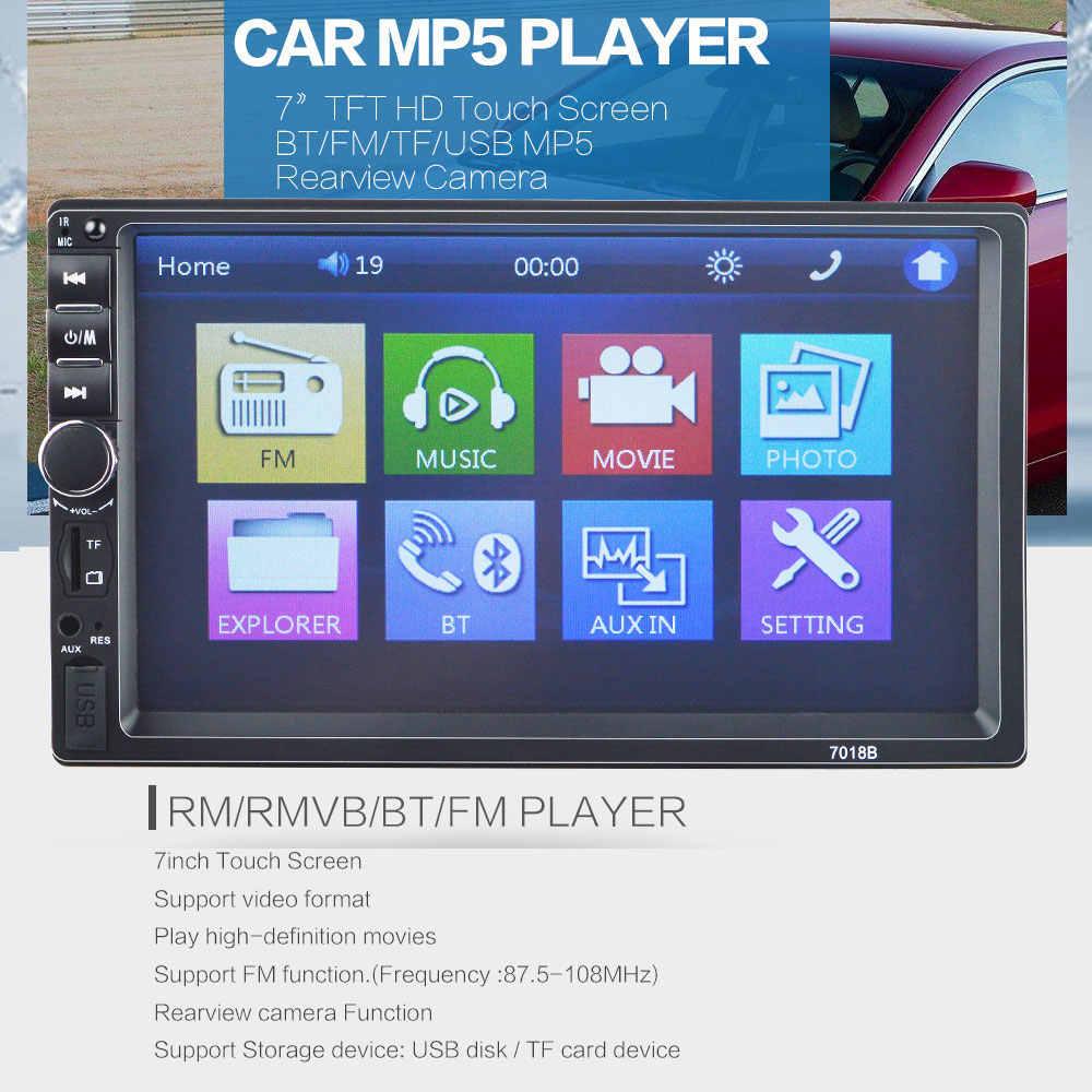 ラジオ車 2 Din 7 ''タッチスクリーンの Bluetooth 自動 Mp5 プレーヤー Usb Aux Tf Autoradio リアビューカメラフレームとハンズフリー