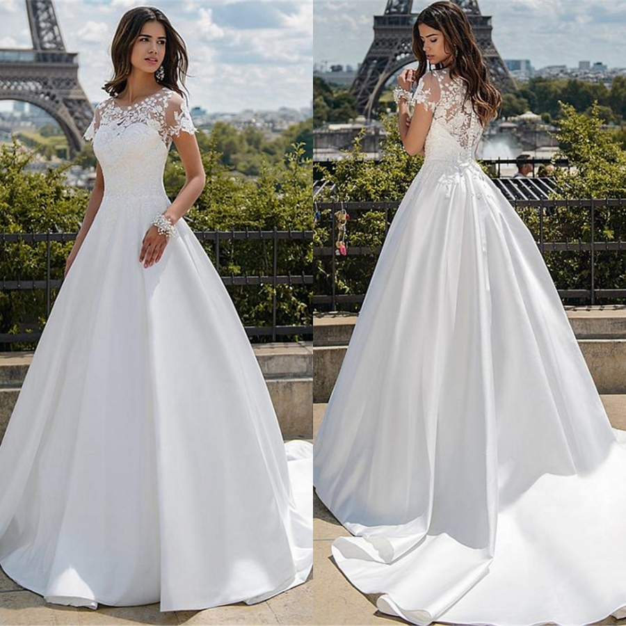 White O-neck Short Sleeves Satin With Applique Lace A-line Wedding Dress 2019 Design For Bride