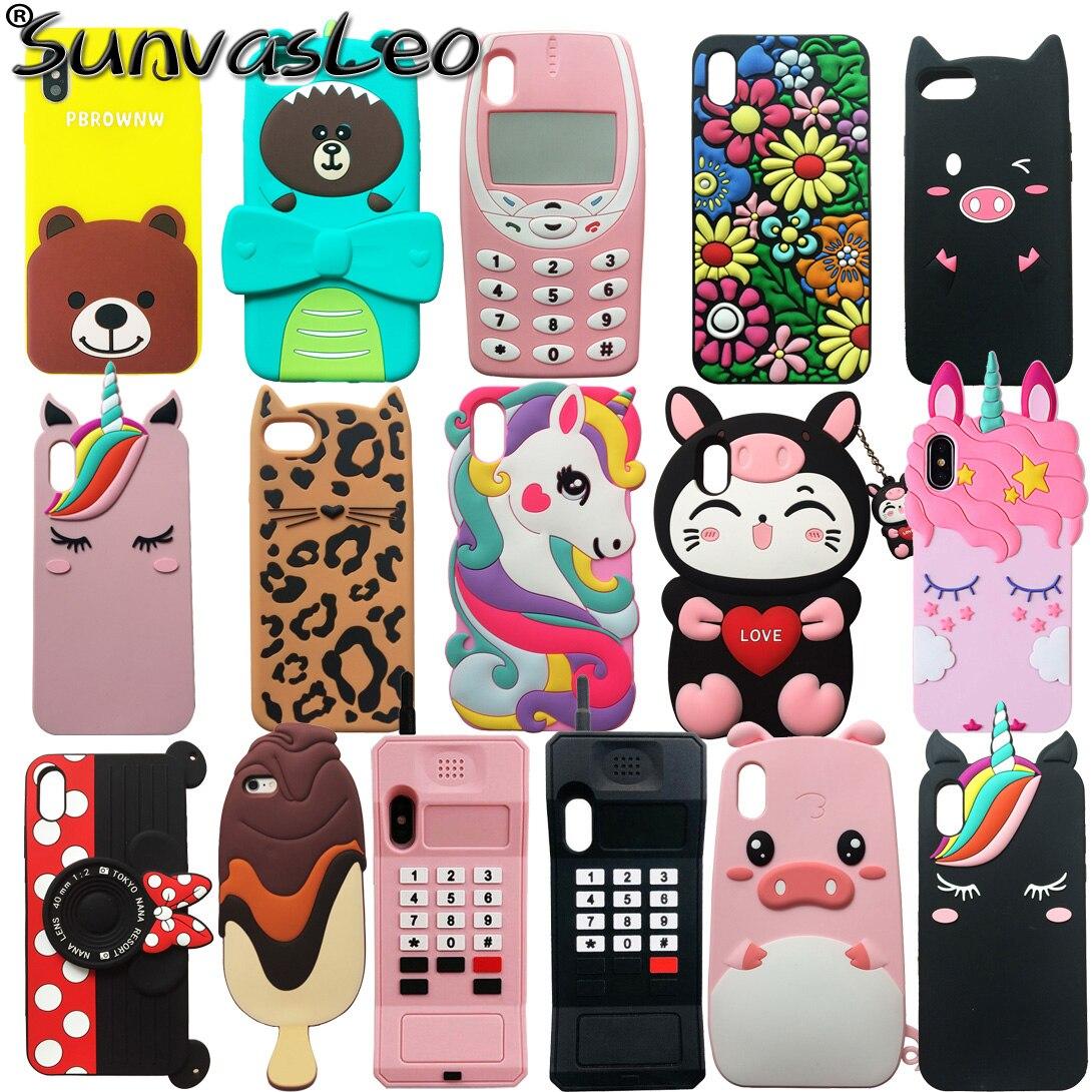 3D Cartoon Cute Minnie Cat Stitch Unicorn Telephone Silicone Cover For IPhone 6 6s X XR Xs 11 Pro Max 7 8 Plus Phone Cases Coque