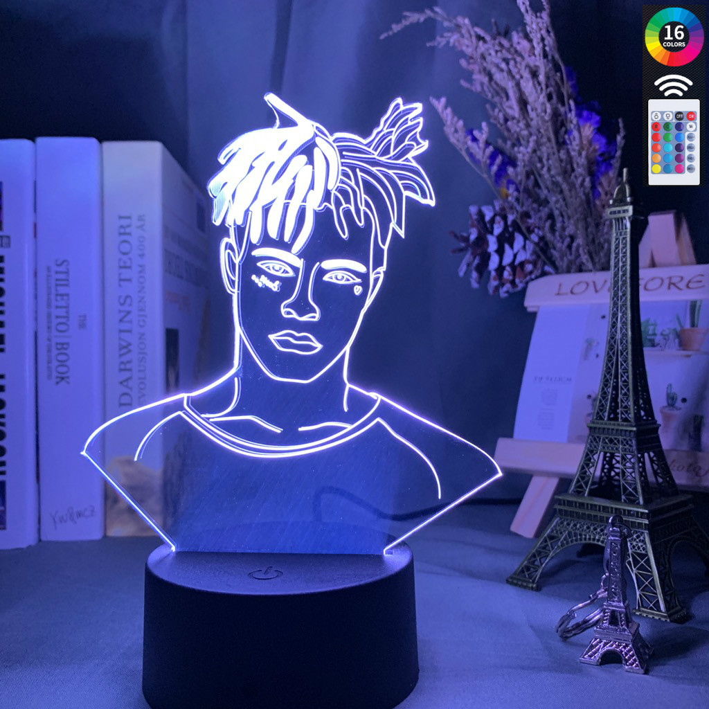 American Rapper XXXTentacion Figure 3D Led Night Light Cool Dropshipping Room Decor Light For Office Bedroom Table