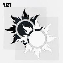 YJZT – autocollant de voiture en vinyle noir/argent, 13.5x13.5CM, autocollant de personnalité, flamme éblouissante, brûlure de soleil, 10A-0421