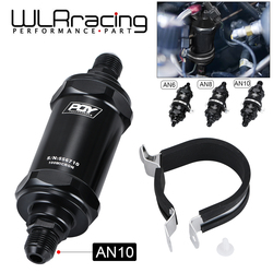 WLR RACING - PQY BLACK AN6 / AN8 / AN10 Inline Fuel Filter E85 Ethanol With 100 Micron Stainless steel element and PQY sticker