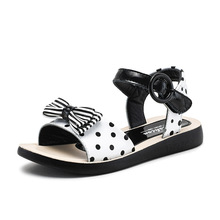 Sandals Girls Polka Dot Children Summer School Shoes Kids for Genuine Leather Bowtie Princess