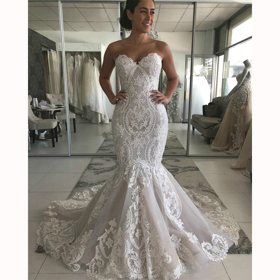 Appliques Sweetheart Mermaid Dress Lace Tulle Backless Long Dress With Sweep Train Bridal Gown Prom Party Vestidos De Novia