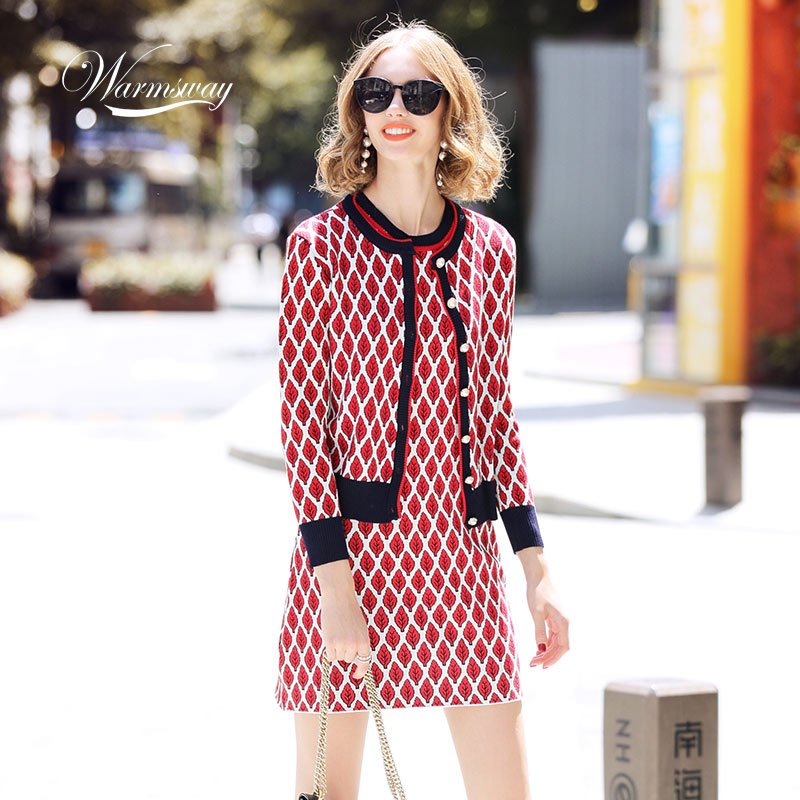 2019 Winter Round-neck Knitted Cardigans + Dress Woman Leaf Rhombic Jacquard Chequered Two-piece Suit OL Casual Set  C-327