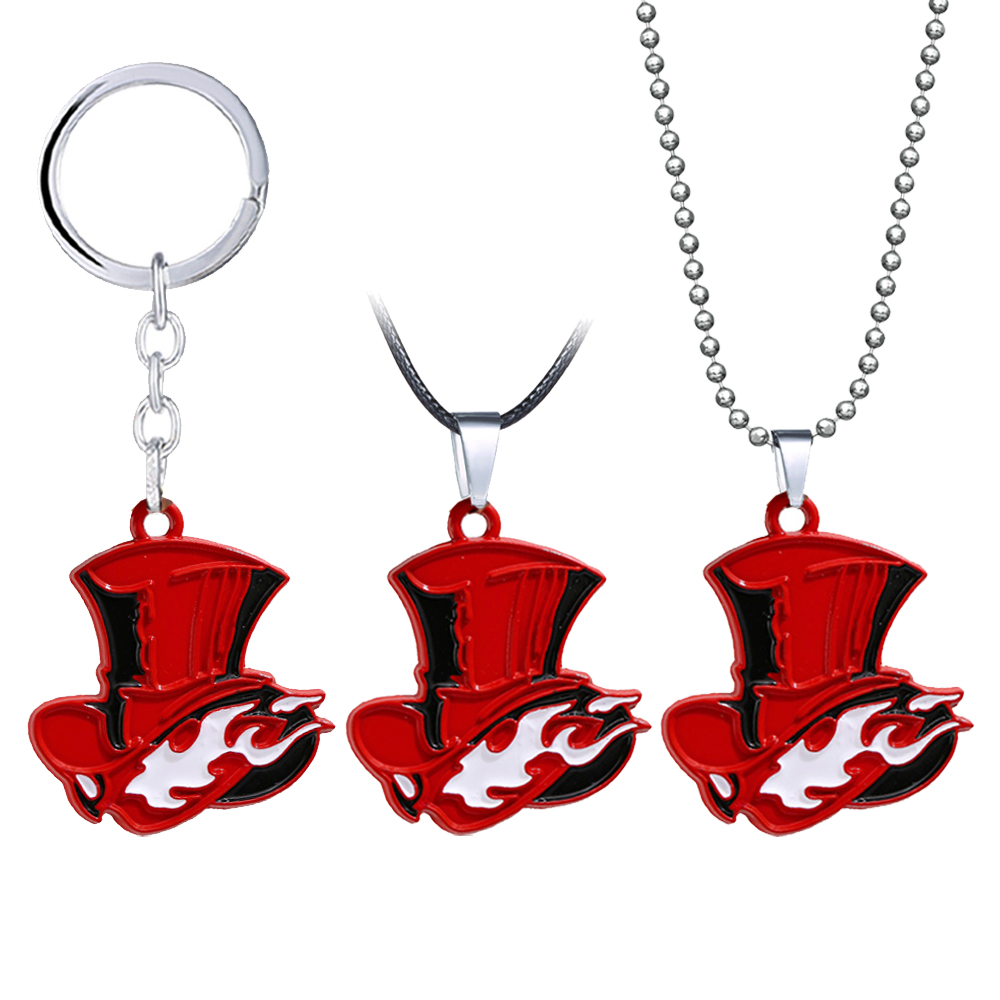 Game Persona P5 Keychain Men Metal Bead Chain Red Heart Shape PS Pendant Key Chain Ring Women Jewelry llaveros para mujer image