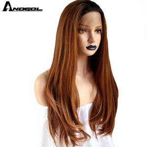Image 2 - Anogol Brand Dark Roots Ombre Brown Synthetic Lace Front Wigs Long Straight Heat Resistant Fiber Wigs for Women Daily Use