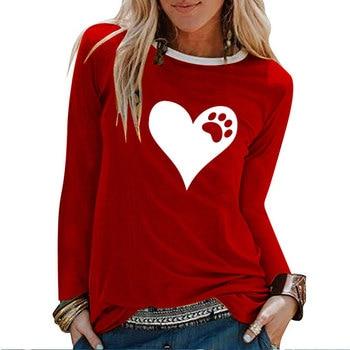 Heart Bear Paw Print Long Sleeve T-shirts Women Autumn Winter Shirts for Women Loose White Crew Neck Graphic Tees Streetwear 1