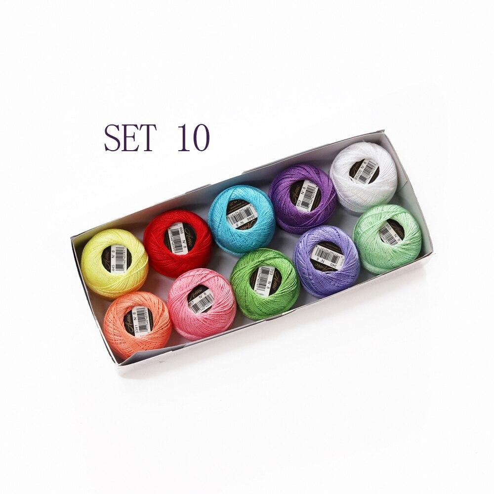 5 граммов размер, 8 жемчужных хлопковых нитей для вышивки крестиком, 43 ярдов на шарик, Двойной Мерсеризованный длинный штапельный хлопок, 10 шт./col - Цвет: SET 10