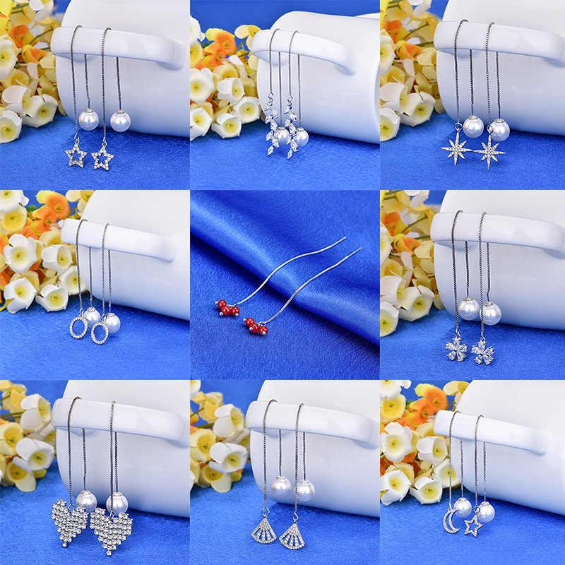 אופנה עגילי הצהרת פניני גיאומטרי קו עגילי נשים כוכב לב טאסל ארוך שרשרת תליית Drop חרישת תכשיטים מודרני