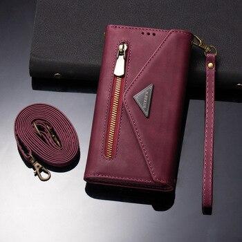 YXAYN Flip Cover Detachable Magnet Closure Handbag For iPhone12 Mini 11 Pro Max X XS XR 7 8Plus Zipper Leather Wallet Phone Case
