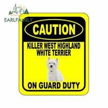 Earlfamil-pegatina de aluminio para coche, pegatina de perro de 13cm x 11cm con precaución, KILLER WEST HIGHLAND WHITE TERRIER