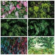 Laeacco foresta tropicale piante verdi foglie fogliame fondali fotografia sfondi fotografici compleanno Photocall photzone