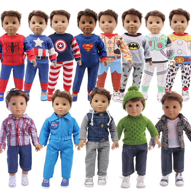 Doll Boy Clothes Captain America Spider-Man Superhero Pajamas For 18 Inch American 43cm Baby Generation Doll Clothes Christmas