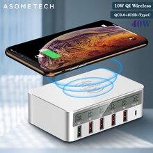 Cargador inalámbrico QI de carga rápida 3,0, Cargador USB para Samsung S10, adaptador de toma de corriente para iPhone, Huawei, Xiomi