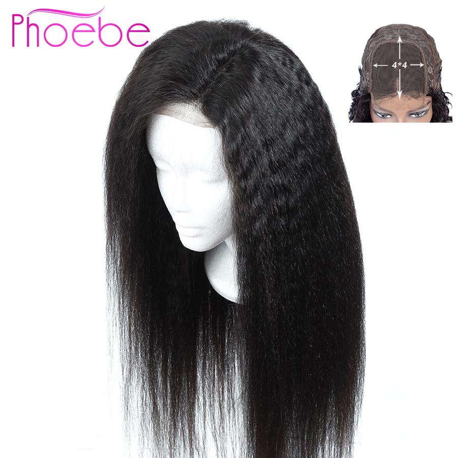 Phoebe 4X4 Lace Closure Human Hair Wigs Brazilian Yaki Straight Lace Closure Wig For Black Women 150% Density Non-Remy Wigs