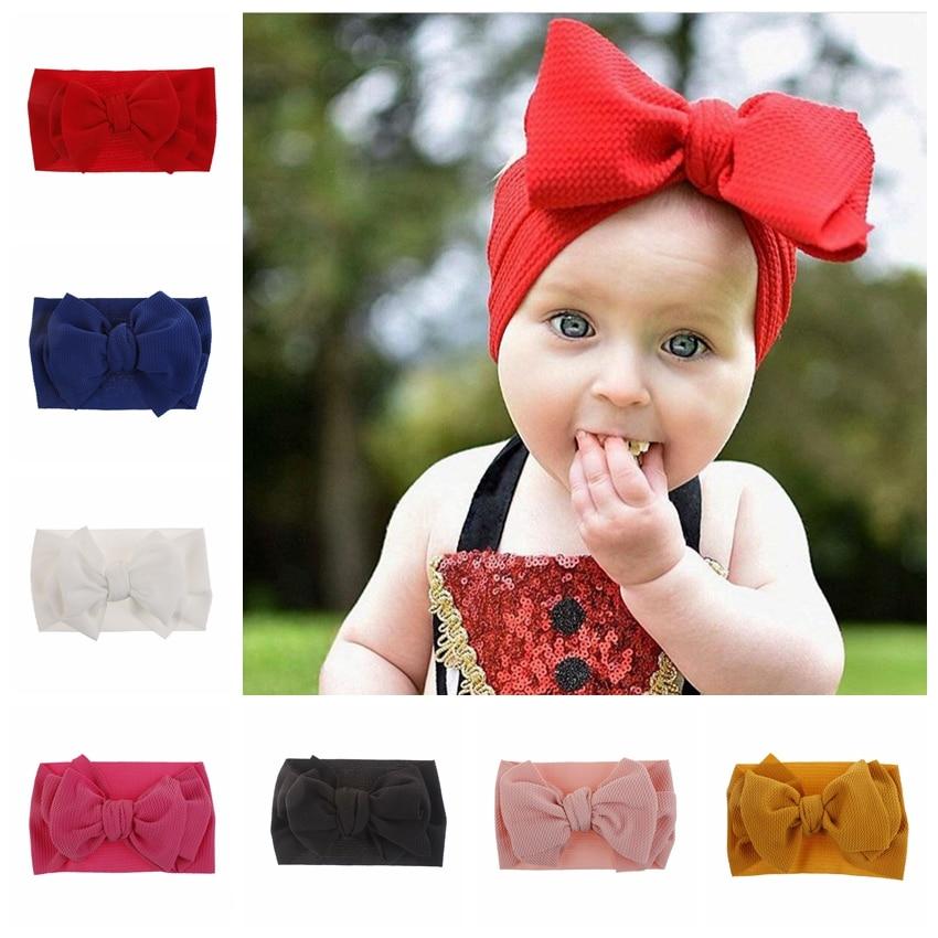 Kids Infants Girls Bow Stretchy Headband Kids Party Dress Elastic Hair Band LOT